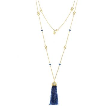 Gumuchian 18k Yellow Gold Diamond Tiny Hearts Blue Sapphire Tassel Pendant