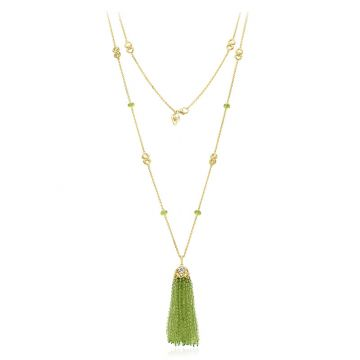 Gumuchian 18k Yellow Gold Diamond Tiny Hearts Peridot Tassel Pendant