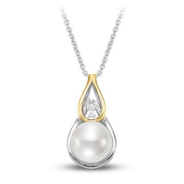 Ladies 18k Two Tone Single Cultured Pearl Necklace With a 0.25 ctw of Diamonds. 9.5-10mm