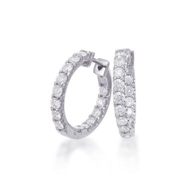 Epoque 14k White Gold Diamond Hoop Earrings