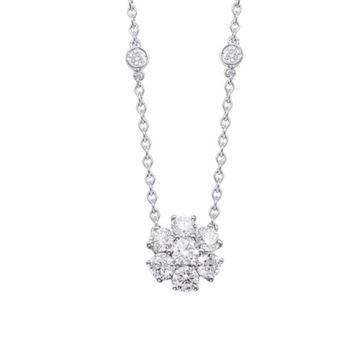 Epoque 14k White Gold Diamond Flower Necklace