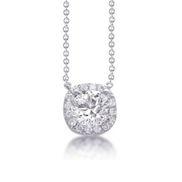 Epoque 14k White Gold Cushion Set Diamond Halo Necklace
