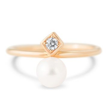 LexiMazz Designs 14k Gold Diana Diamond and Pearl Ring