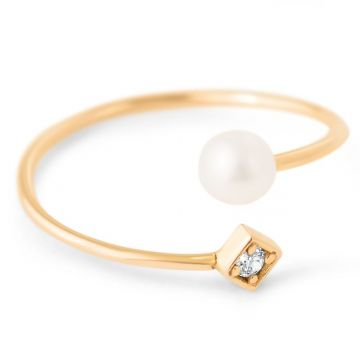 LexiMazz Designs 14k Gold Diana Diamond and Pearl Bypass Ring