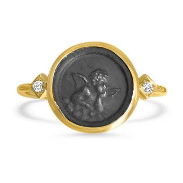 LexiMazz Designs 14k Gold Mini Mazz Angel Coin Ring with Diamonds