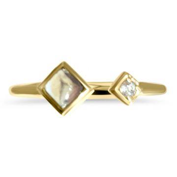 LexiMazz Designs 14k Gold Mini Mazz Moonstone and Diamond Open Ring