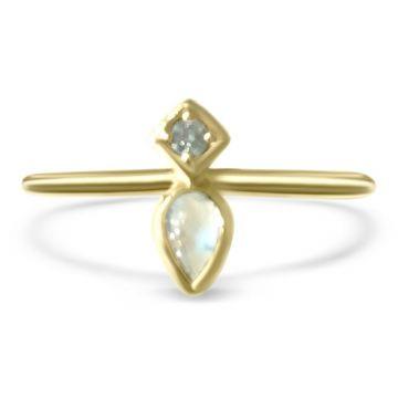 LexiMazz Designs 14k Gold Mini Mazz Pear Shape Moonstone and Diamond Ring