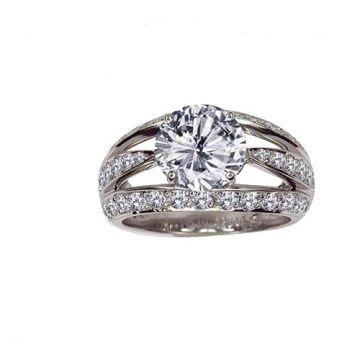 Gumuchian Luna Platinum Diamond Free Form Semi-Mount Engagement Ring