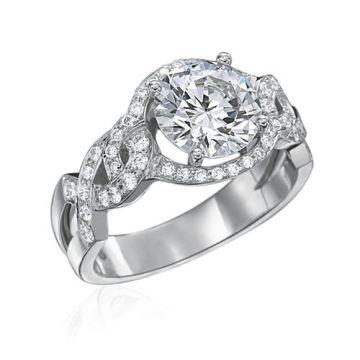 Gumuchian Bridal 18k White Gold Diamond Criss Cross Semi-Mount Engagement Ring