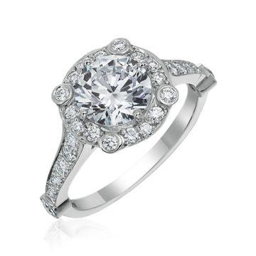 Gumuchian Carousel Platinum Diamond Halo Semi-Mount Engagement Ring