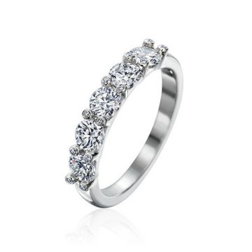 Gumuchian Twinset Platinum Five Stone Diamond Anniversary Wedding Band