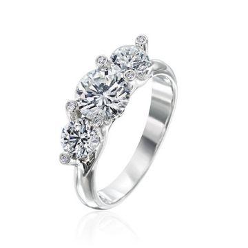 Gumuchian Twinset Platinum Three Stone Diamond Engagement Ring