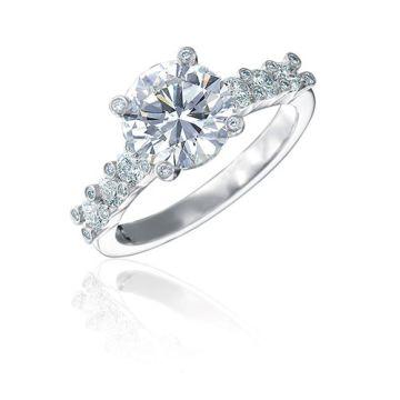 Gumuchian Twinset 18k White Gold Six Stone Diamond Semi-Mount Engagement Ring
