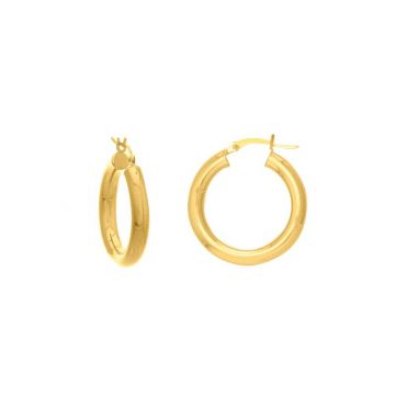 Midas 14k Yellow Gold 4x25mm Round Tube Polished Hoop Earrings