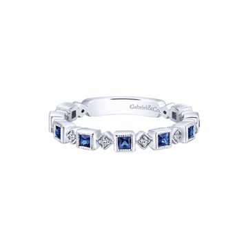 Gabriel & Co. 14k White Gold Diamond and Blue Sapphire Stackable Ring