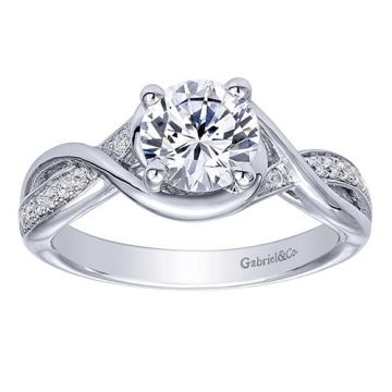 Gabriel & Co Round Criss Cross Twisted Engagement Ring