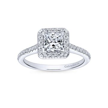 Gabriel & Co 14k White Gold Princess Cut Halo Engagement Ring