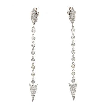 Meira T 14k White Gold Long Diamond Spear Tip Earrings