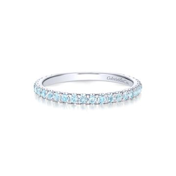 Gabriel & Co. 14k White Gold Sky Blue Topaz Stackable Ring