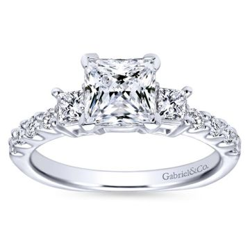 Gabriel & Co 14k White Gold Princess Cut 3 Stones Engagement Ring