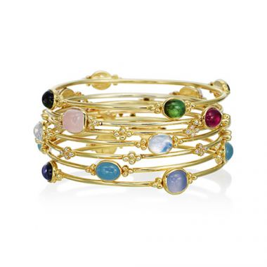 Mazza Co 18k Yellow Gold Capri Multi stone Stackable Bracelet