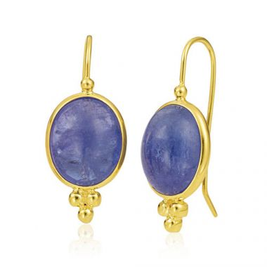 Mazza Co 18k Yellow Gold Tanzanite Cabochon Earrings