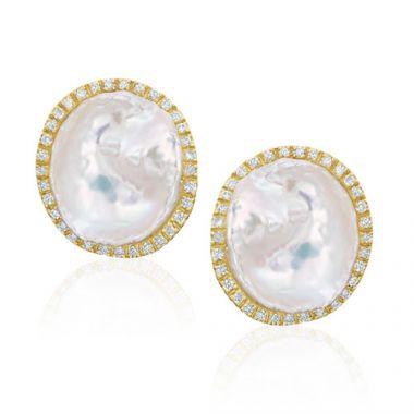 Mazza Co 18k Yellow Gold Fresh Water Pearl and Diamond Studs