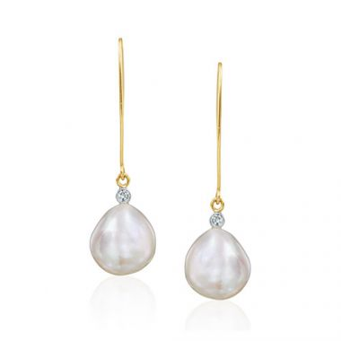 Mazza Co 18k Yellow Gold Fresh Water Pearl and Diamond Drop Earrings