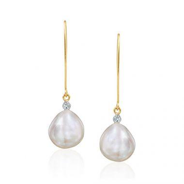 Mazza Co 18k Yellow Gold Fresh Water Pearl and Diamond Drop Earrings
