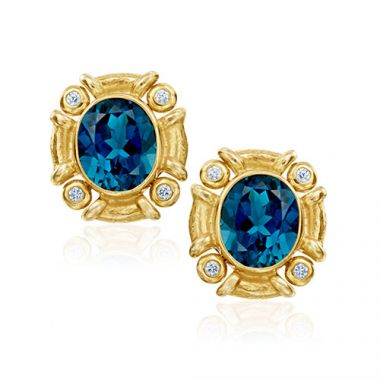 Mazza Co 18k Yellow Gold London Blue Topaz and Diamond Studs