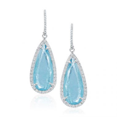 Mazza Co 18k White Gold Aquamarine and Diamond Earrings