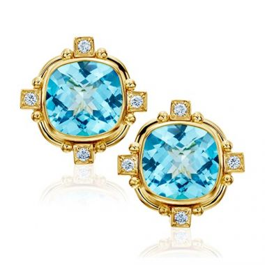 Mazza Co 18k Yellow Gold Blue Topaz and Diamond Stud Earrings