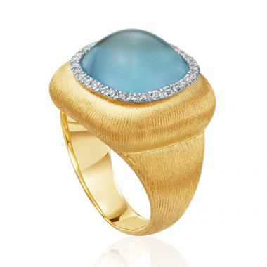 Mazza Co 18k Yellow Gold Moonstone and Diamond Florentine Ring