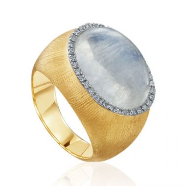 Mazza Co 18k Yellow Gold Milk Quartz and Mother of Pearl Florentine Ring