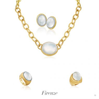 Mazza Co 18k Yellow Gold Milk Quartz, Mother of Pearl, and Diamond Necklace