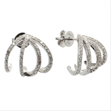 Meira T 14k White Gold Diamond Cage Earrings