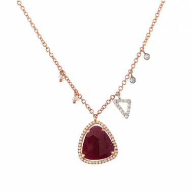 Meira T 14k Rose Gold Ruby, Diamond and Pearl Necklace