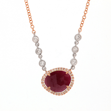 Meira T Ruby 14k Rose Gold Ruby and Diamond Necklace