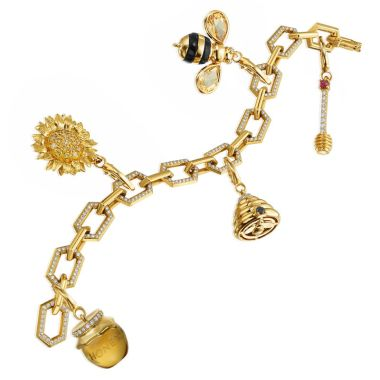 "Gumuchian Honeybee ""B"" 18k Yellow Gold Diamond Charm Bracelet"