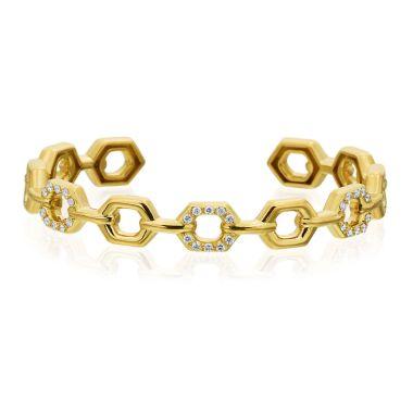 "Gumuchian Honeybee ""B"" 18k Gold Diamond Pave Linking Honeycomb Bangle"