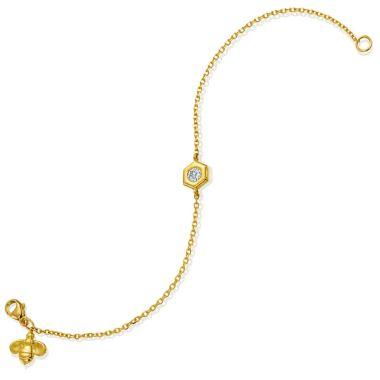 "Gumuchian Honeybee ""B"" 18k Gold Honeycomb Motif Bracelet (Large)"