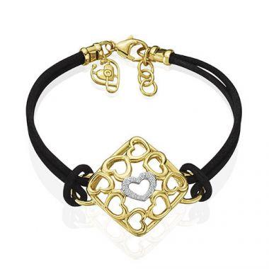 Gumuchian 18k Yellow Gold Diamond Tiny Hearts Cushion Motif Diamond Cord Bracelet