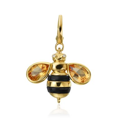 "Gumuchian Honeybee ""B"" 18k Yellow Gold Diamond & Citrine Honeybee Charm"
