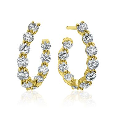Gumuchian New Moon 18k Yellow Gold Diamond Hoop Earrings