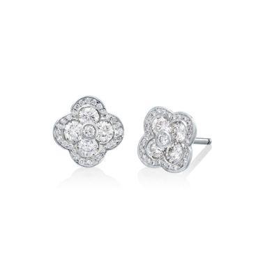 Gumuchian Fleur 18k White Gold Diamond Stud Earrings
