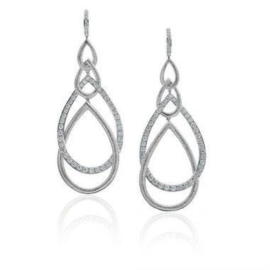 Gumuchian Peacock 18k White Gold Diamond Drop Earrings
