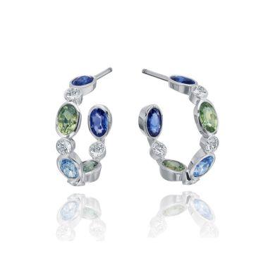 Gumuchian Marbella 18k White Gold Diamond Sapphire Hoop Earrings