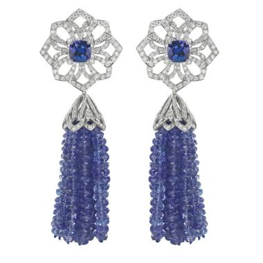 Gumuchian Platinum Tassel Tanzanite Earrings