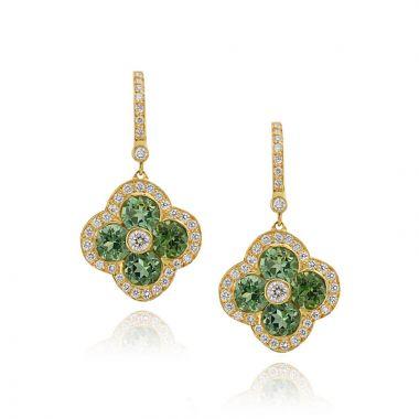 Gumuchian Fleur 18k Yellow Gold Tourmaline & Diamond Leverback Earrings