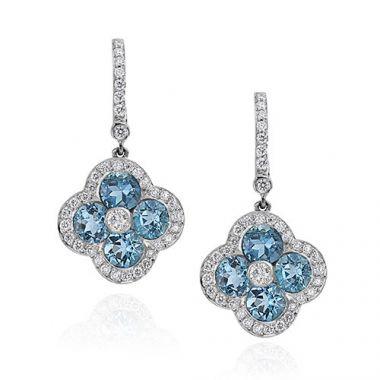 Gumuchian Fleur Platinum Diamond Aqua Fleur Earrings with Diamond Leverbacks